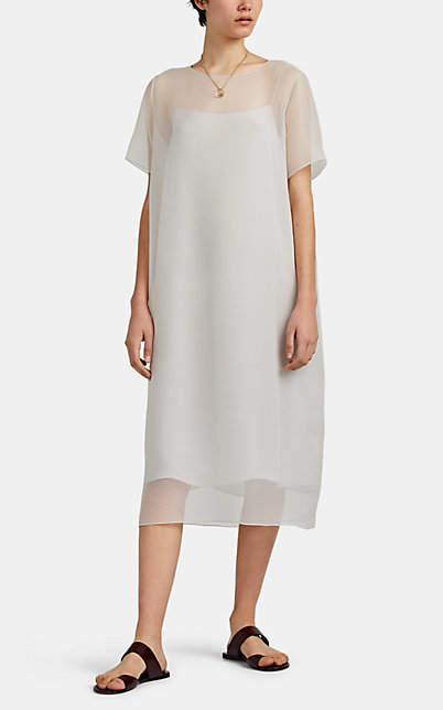 The Row Women's Rory Textured Silk Dress - Gray