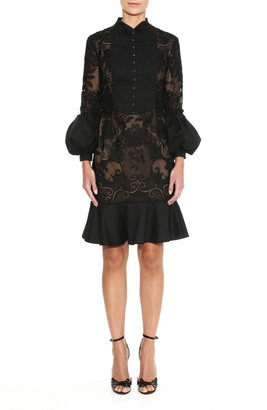 Marchesa Briar Rose Lace Detail Cocktail Dress
