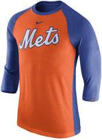 Nike Men's New York Mets Tri-Blend Three-Quarter Raglan T-shirt