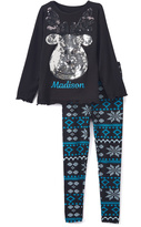Beary Basics Black Reindeer Personalized Tee & Fair Isle Leggings - Toddler & Girls