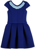 Zoë Ltd Cap-Sleeve Pleated Fit-and-Flare Ponte Dress, Blue, Size 7-16