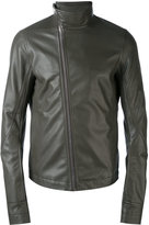 Rick Owens asymmetric zip biker jacket - men - Cotton/Leather/Cupro - 50