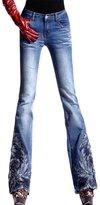 AvaCostume Womens High Waist Flower Embroidery Beadings Flared Denim Jeans, Blue