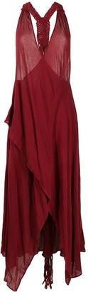 CARAVANA Draped Open-Back Cotton Dress