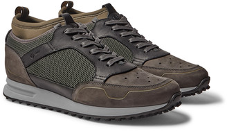 Dunhill Radial Runner Neoprene And Leather-trimmed Suede And Mesh Sneakers - Green