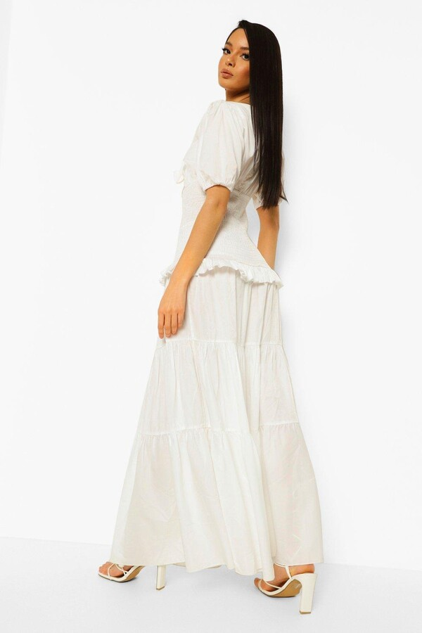 Thumbnail for your product : boohoo Tie Detail Tiered Hem Maxi Dress
