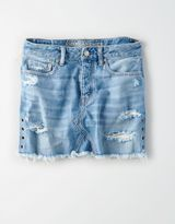 American Eagle Outfitters AE Vintage Hi-Rise Grommets Denim Skirt