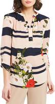 Investments Floral Stripe Long Sleeve Y-Neck Popover