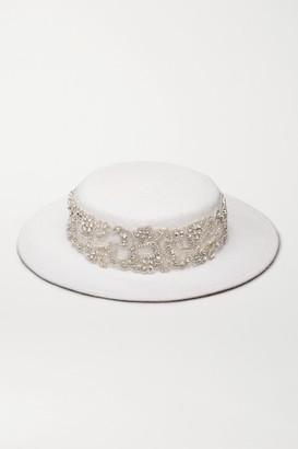 Eugenia Kim Hayley Paige Marni Crystal-embellished Wool-felt Hat - White