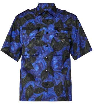 Prada Rose-print Short-sleeved Poplin Shirt - Mens - Black Purple