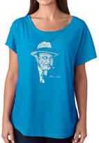 LOS ANGELES POP ART Los Angeles Pop Art Women's Loose Fit Dolman Cut Word Art Shirt - AL CAPONE-ORIGINAL GANGSTER
