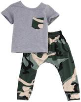 Albee Yang Little Boys Short Sleeve Cotton T-shirt and Camouflage Pants Outfit