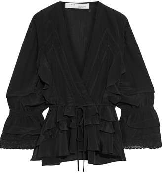IRO Eternal Lace-trimmed Ruffled Silk Crepe De Chine Blouse