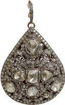 Munnu Rose and Round-Cut Diamond Teardrop Pendant