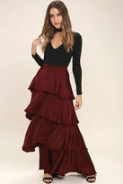 Olivaceous Celebrate the Occasion Burgundy Satin Maxi Skirt