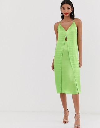 Asos Design DESIGN cami midi slip dress with cut out with high shine satin-Green