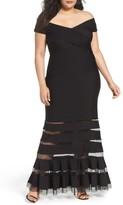 Tadashi Shoji Plus Size Women's Pintuck Jersey Off The Shoulder Gown