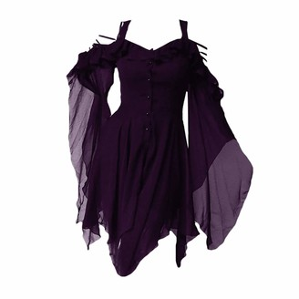 Yying Women's Chiffon Mini Dress - Solid Color Bell Sleeve Dress Sling Off Shoulder Dress Gothic Punk Mini Dress Summer Vacation Beach Casual Loose Dress S-5XL Purple