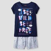 Girls' Short Sleeve Pajama Set Cat & Jack - Be Wild, Be Free