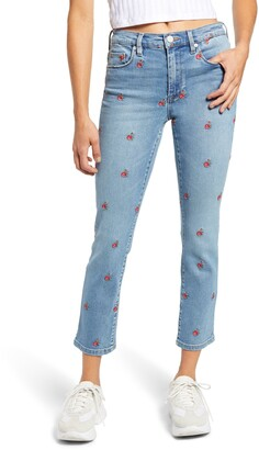 Blank NYC Flower Embroidered High Waist Crop Skinny Jeans
