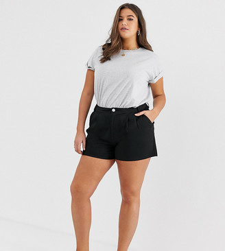 Asos DESIGN Curve chino short with double pleats-Black