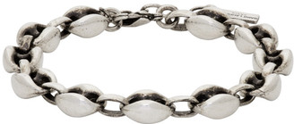 Saint Laurent Silver Oxided Cable Chain Bracelet