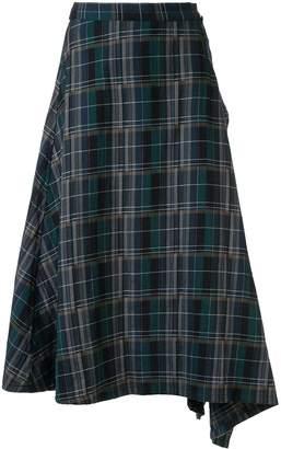 Y's check asymmetric skirt