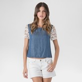 standards & practices Women's Lightweight Denim Top With Lace Sleeves - S&P by Standards and Practices