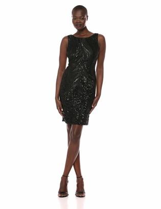 Calvin Klein Women's Sleeveless V Back Embellished Sheath Dress