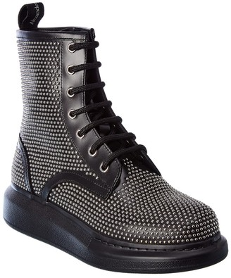 Alexander McQueen Hybrid Lace-Up Leather Boot