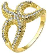 Epinki Womens Bridal Ring Small Clear Pave Set Cubic Zirconia Skinny Starfish Size 6 Ring