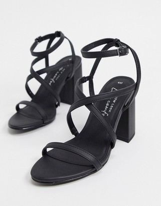 New Look flare heeled strappy sandals in black