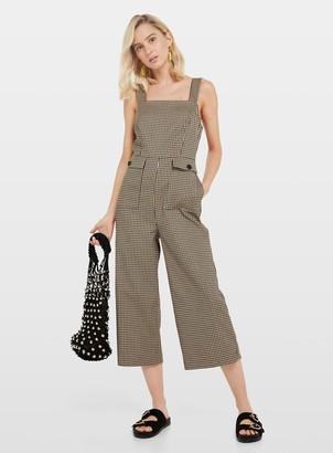 Miss Selfridge Camel Checked Pocket Pinafore Jumpsuit