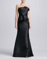 Carmen Marc Valvo Strapless Beaded Peplum Gown, Black