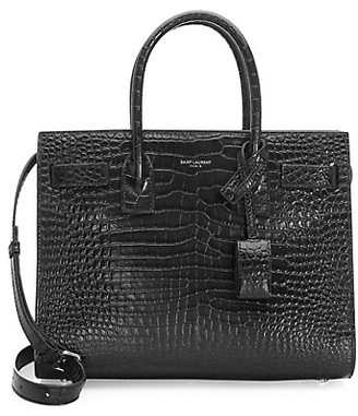 Saint Laurent Baby Sac De Jour Croc-Embossed Leather Satchel