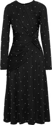 Prabal Gurung Lugu Twist-front Embellished Ribbed Jersey Midi Dress