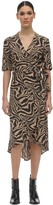 Ganni Printed Crepe Wrap Dress
