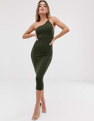 Asos Design DESIGN going out one shoulder bodycon midi dress-Green
