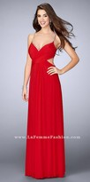 La Femme Beaded Double Strap Ruched Prom Dress