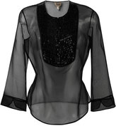 Armani Collezioni three-quarters sleeve sheer blouse - women - Silk/glass - 42