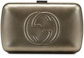 Gucci Broadway Metallic Leather Minaudiere Clutch Bag, Pewter