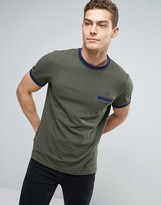 Fred Perry Pique Pocket T-shirt Contrast Trims In Green