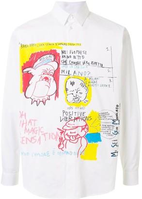 MSGM Illustration-Print Long-Sleeve Shirt