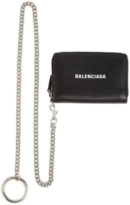 Balenciaga Logo Leather Card Case W/ Chain