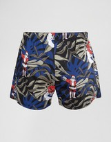 Asos Holidays Woven Boxers With Surfing Santa Print