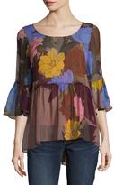 Tracy Reese Silk Printed Flounce Tunic
