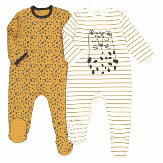 La Redoute Collections Pack of 2 Cotton Mix Sleepsuits, Birth-3 Years