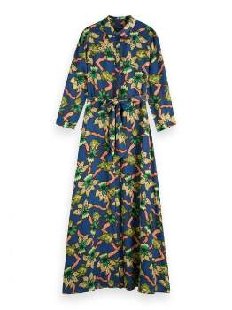 Maison Scotch Polyester Combo Belted Maxi Dress - polyester | xs