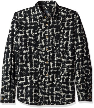 French Connection Men's Chaos Check Flannel Button Down Shirt