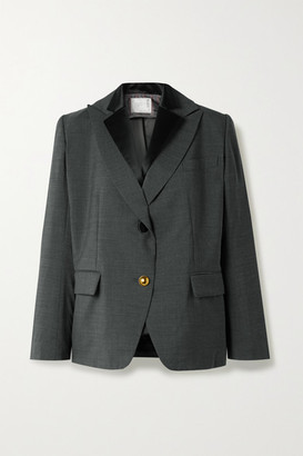 Sacai Layered Grain De Poudre And Satin Blazer - Gray